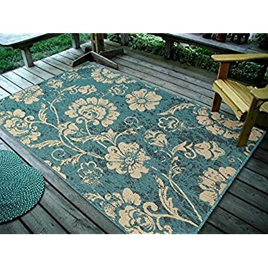 4''5X7' Floral Leaves Ocean Blue, Indoor & Outdoor Area Rug, Easy to Clean, UV protected & Fade Resistant Furnishmyplace 1110