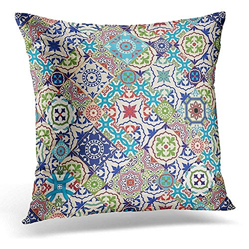 Niet geschikt decoratief kussen overtrek, blauwe Spaanse mega prachtig patchwork-patroon van bonte Marokkaanse tegels ornamenten gevuld Azulejo decoratieve kussenslopen voor sport Gym Athletic