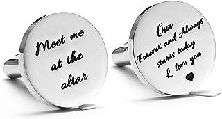 دستبندهای فولادی ضد زنگ Melix Home برای مردان داماد در پیوندهای کافهای هدایای عروسی Altar با من دیدار می کنند