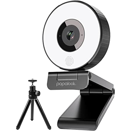 papalook PA552 Webcam Streaming with Ring Light and 2 Mics, Full HD 1080p and Tripod Included