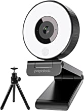 Live Streaming Webcam, PAPALOOK PA552 1080P Gaming StreamCam with Studio-Like Ring Light, Dual Microphones and Tripod for ...