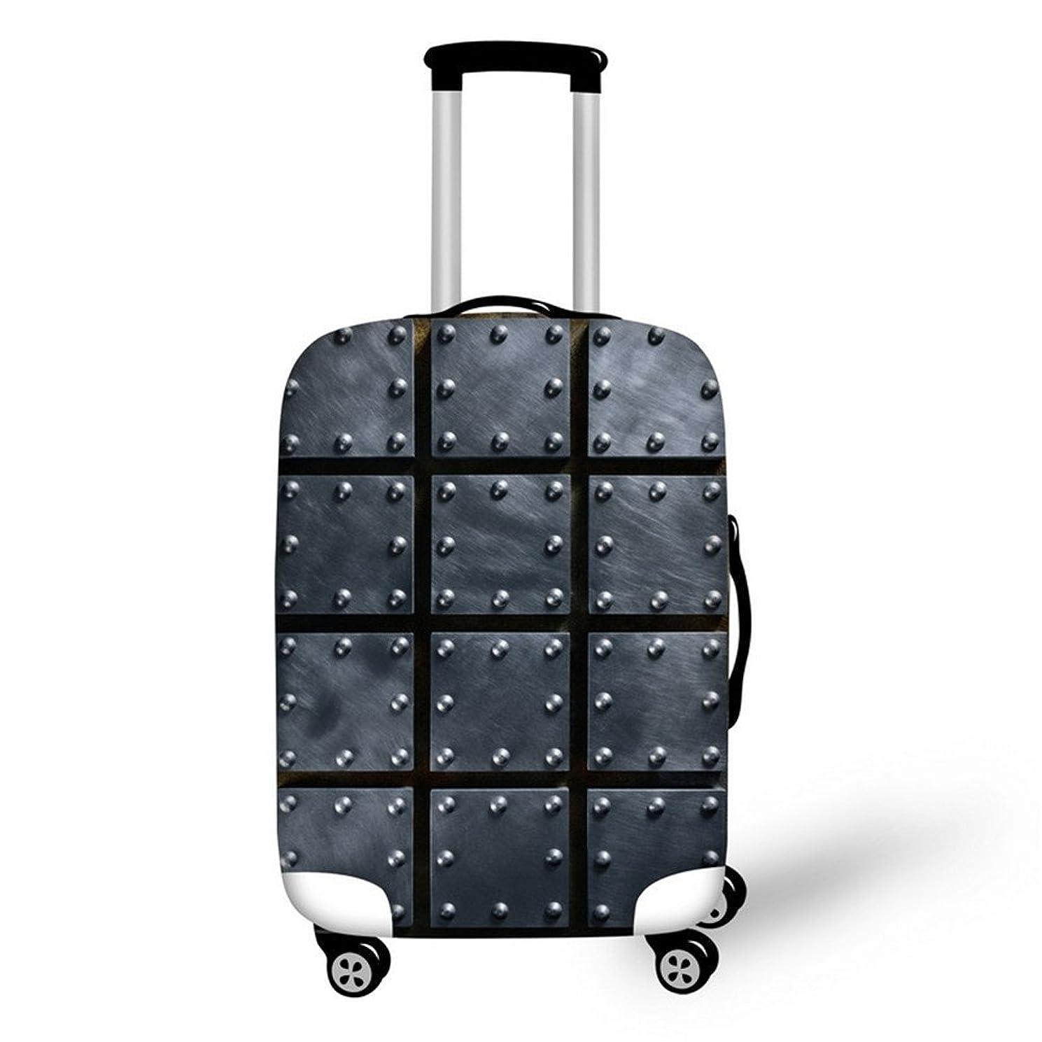 バスト定規安定しましたBigcardesigns スーツケースカバー 伸縮素材 通学 個性 旅行 金属風 S/M/Lサイズ