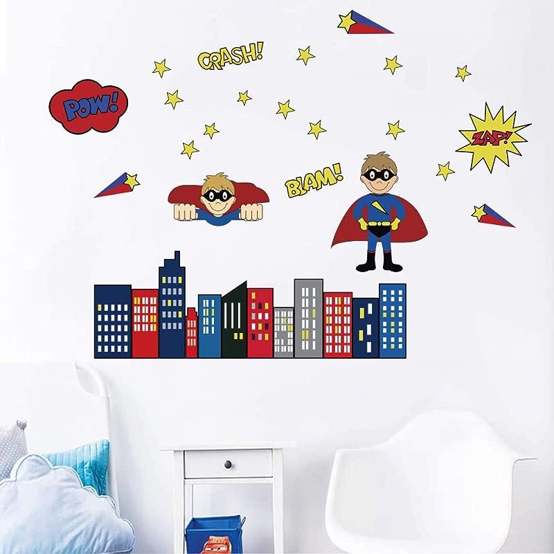 Decalmile Superhero Wall Decals Kids Wall Stickers Boys Bedroom Baby Nursery Playing Room Decor
