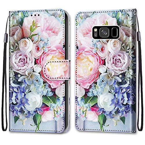 Nadoli Handyhülle Leder für Samsung Galaxy S8,Bunt Bemalt Rosa Strauß Trageschlaufe Kartenfach Magnet Ständer Schutzhülle Brieftasche Ledertasche Tasche Etui