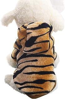 Ropa para Mascotas, Sudadera con Capucha de Lana para Perro Pequeño Gato Invierno PatróN de Tigre Abrigo de Mascota Ropa Traje para Chihuahua Yorkshire, XS-XXL