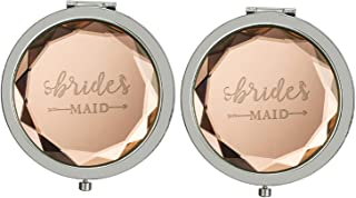 Pack of 2 Compact Pocket Makeup Mirrors Engraved Bridesmaid for Bridal Shower Party Wedding with 2 Beautiful Bags( Champagne )