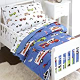 Wildkin Kids 4 Pc Toddler Bed in A Bag for Boys and Girls, Microfiber Bedding Set Includes Comforter, Flat Sheet, Fitted Sheet, and One Pillow Case, BPA-Free, Olive Kids (Heroes)