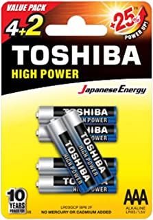 TOSHIBA High Power Alkaline AAA - 4+2 Battery Pack