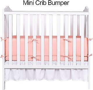Designthology (U.S.) 100% Cotton Muslin Breathable Mini Crib Bumper Pads, 1-Piece Peachy Pink - Safe Crib Padding Protector, Machine Washable Padded Crib Liner