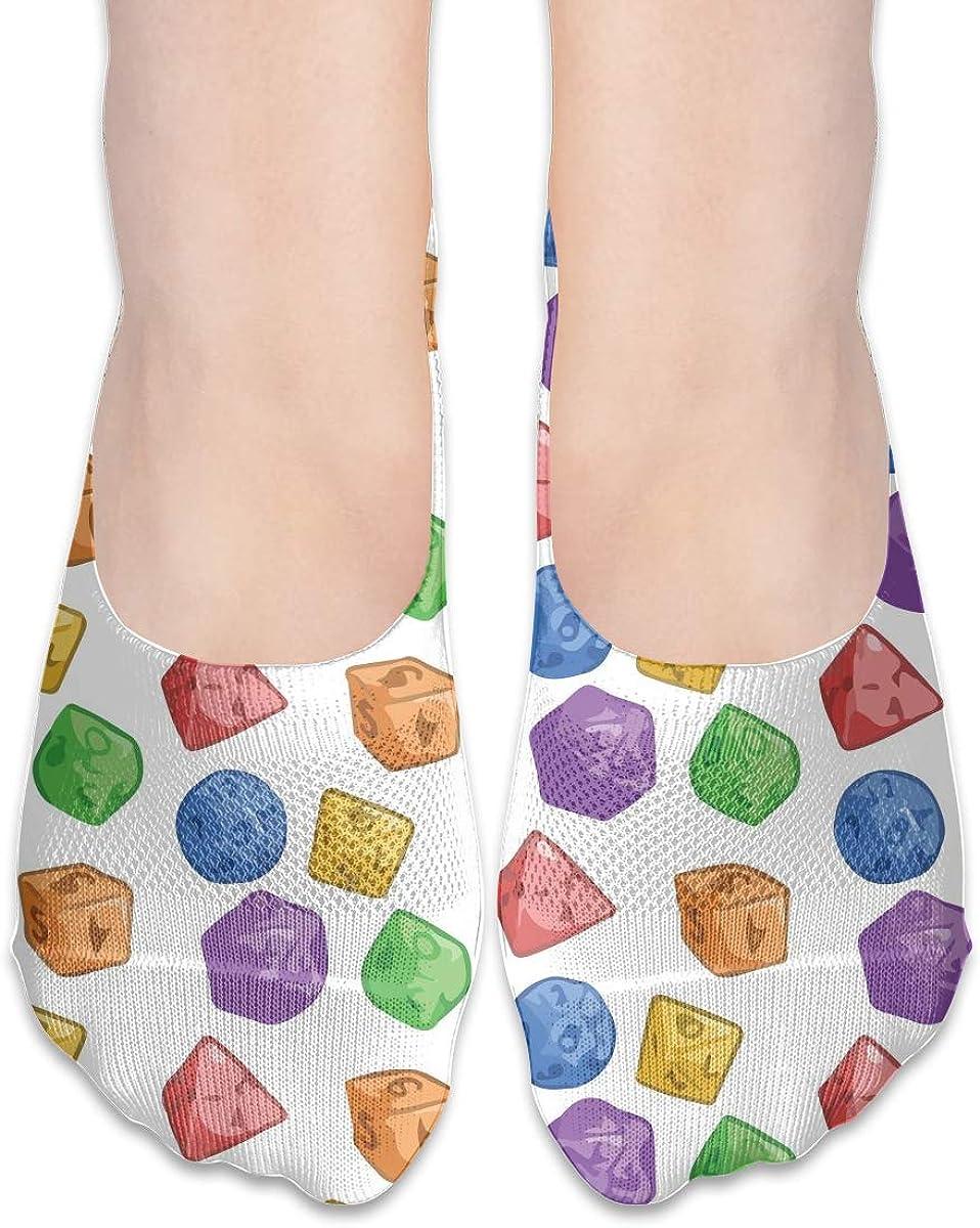 No Show Socks Women Men For Rainbow Jelly Dice Word Flats Cotton Ultra Low Cut Liner Socks Non Slip