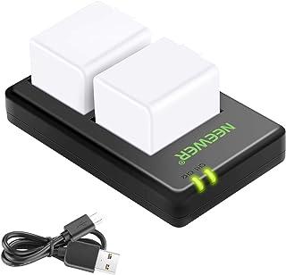 Neewer A1 Batterie Ladegerätesatz kompatibel mit den Funk Überwachungskameras Arlo Pro, Arlo Pro 2 (2er Pack/7,2V wiederaufladbare Li Ionen Akkus mit 2440mAh und Dual USB Ladegerät)