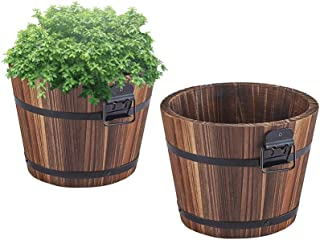 Wooden Bucket Barrel Planters – 5.5'' Rustic Flower Planters Pots Boxes Container with Drainage Holes for Patio Garden Outdoor Indoor Home Decor Small Plants, Brown Set of 2