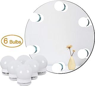 Luces para Espejo Tocador DIY Hollywood, Luces LED con Interruptor Atenuación Sensor Táctil y Adaptador de corriente, 6 bombillas / 2,7 metros, espejo no incluido