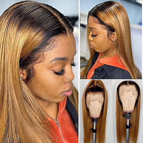 """Human Hair Lace Front Wigs for Women Remy Brazilin Virgin Hair Wigs Pre-Plucked Natural Hairline with Baby Hair 13x4 Free Parting Long Silky Straight Lace Wig Thick 24"""" 150% Density #1B/27"""