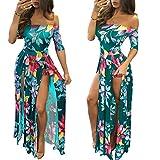 Women Romper Split Maxi Dress Floral Short Jumpsuit Overlay Summer Party Beach 2021 Green XL