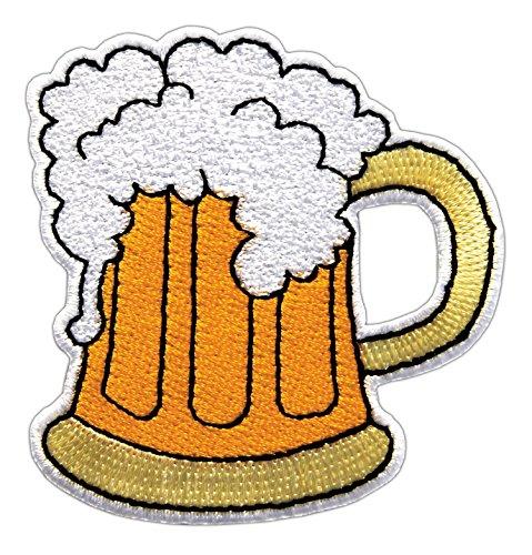 Bier Glas Dunkelgelb Maßkrug Aufnäher Bügelbild 6,4 x 6,7 cm