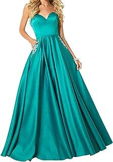 Women's Sweetheart Neck Evening Crystal Pocket Strapless Sleeveless Prom Dress Floor Length