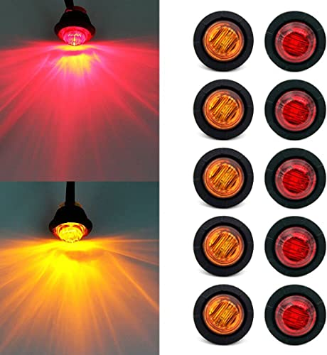 """"""" Purishion 10x 3/4"""""""" Round LED Clearence Light Front Rear Side Marker Indicators Light for Truck Car Bus Trailer Van..."""