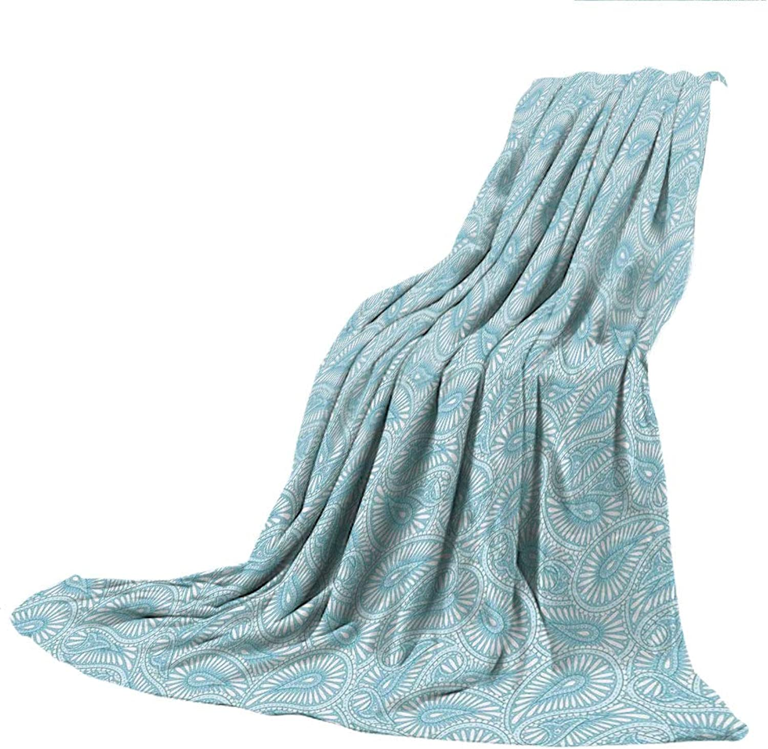 SCOCICI Blanket for Bed Couch Chair Fall Winter Spring Living Room,Arabic,Paisley Pattern Ethnic Traditional Henna Style with Swirled Arabesque Leaves,Light bluee Coconut,59.06  W x 86.62  H