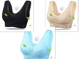 3Pack Women's Seamless Sports Zero Binding Lace Front Closure Bra Wireless Yoga Running Bras (XXL)