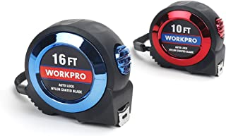 WORKPRO 2-piece Tape Measure Set - Auto Lock 10Ft and 16Ft Measuring Tape, Easy-read Fractions to 1/32