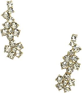 Kate Spade Crystal Flower Ear Pin Climber Crawler Earrings, Clear