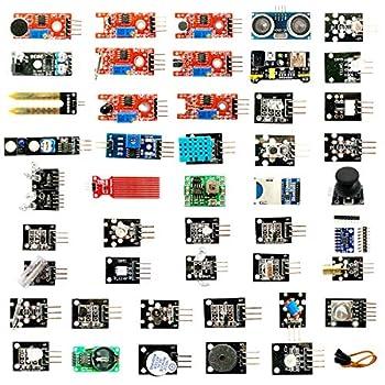 OMGOD 45 Sensors Assortment Kit Sensors Modules Starter Kit for Arduino IDE UNO R3 MEGA2560 Nano Raspberry Pi 4 B 3 B+ for Raspberry Pi Beginners