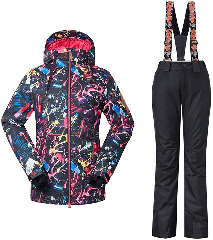 YEEFINE SNOWING Women's 2Piece Ski Suit Windproof Waterproof Snow Jacket and Pants