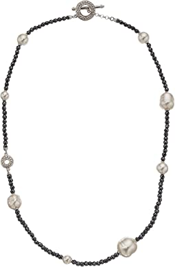 Majorica - 6mm,8mm,10mm and 12mm Round and Baroque Pearls Hematite Necklace with Sterling Silver Toggle Closure
