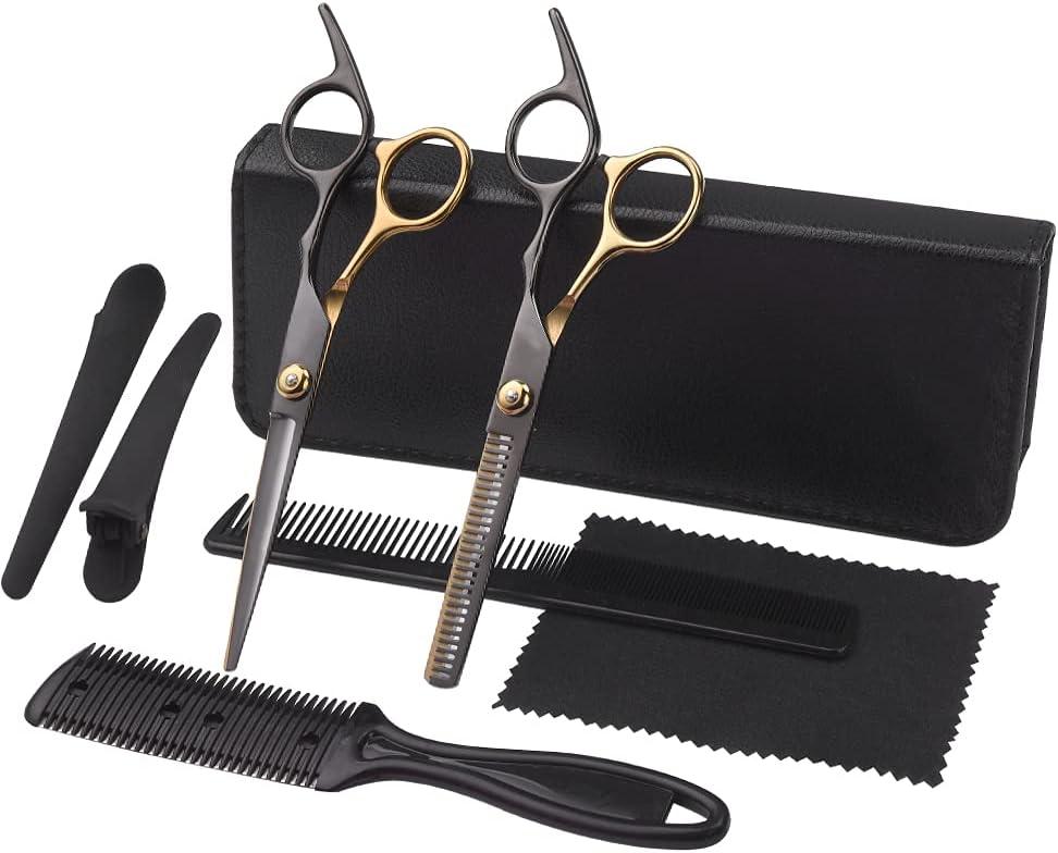 Professional Hair Cutting Thinning Shears Set Japanese Stainless Steel Razor Edge Haircut Kit For Men Women Kids Pet Barber Salon Home Use Black Gold