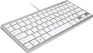 GMYLE® Ultra Thin Wired USB Mini Keyboard - Metallic Silver + White