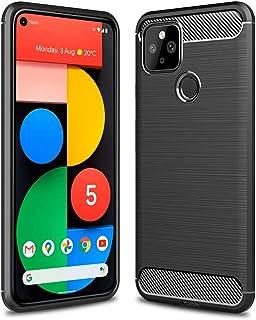 NUPO Google Pixel 5 5G ケース 炭素繊維カバー TPU 保護バンパー 弾力性付き 衝撃吸収 高耐久性 グーグル ピクセル ファイブ Google Pixel5 専用カバー (ブラック)