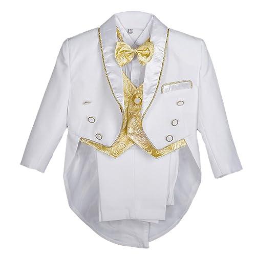 21e1a34d6 Dressy Daisy Baby Boys Classic Tuxedo Suit 5 Pcs Set Jacquard Formal Suits  Wedding Outfit 015