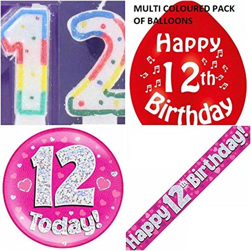 Party-Set für Mädchen zum 12. Geburtstag (englisch)(Banner, Luftballons, Kerze, Anstecker)