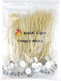 EricX Light Organic Hemp Candle Wicks, 100 Piece Low Smoke 8
