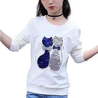 Girls Children Kids Magic Sequin Sweatshirt Cute Cotton Pullover Tops