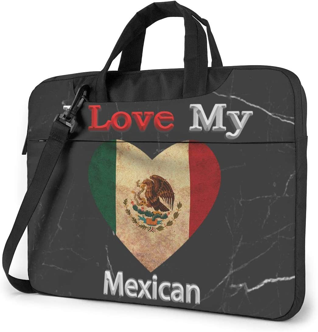 I Love My Mexican Heart Flag Laptop Bag One Shoulder Shockproof Laptop Bag