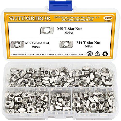 Sutemribor 160 Pcs 2020 Series T Nuts, M3 M4 M5 T Slot Nut Hammer Head Fastener Nut for Aluminum Profile