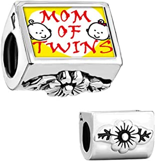 Mom OF TWINS Flower Photo Bead For Charms Bracelet