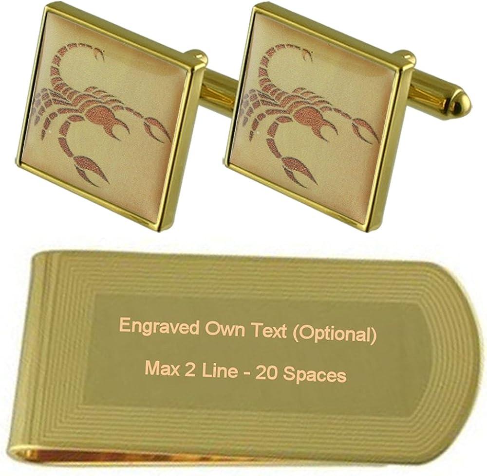 Cumpleaños de Escorpio Signo Zodiaco tono Oro gemelos Money Clip grabado Set de regalo