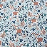 Stoff Meterware Baumwolle hellblau Rehe Zweige Blätter