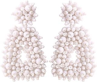 Enameljewelries Handmade Beaded Earrings Bohemian Statement Drop Bead Earrings with Hypoallergenic Steel Post for Women.