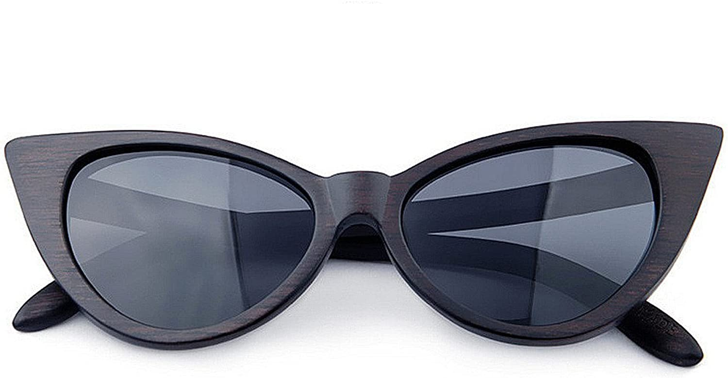 Cat Eyes colord Lens Lady's Wood Sunglasses UV Predection Handmade for Men Women, Fashion Sunglasses