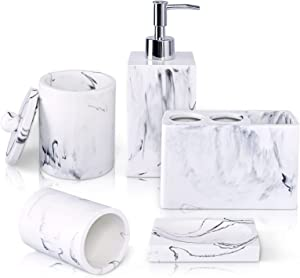Bathroom Accessory Set,5 Pcs Marble Imitated Resin Bathroom Vanity Decor Accessories Sets W/Soap Dispenser, Toothbrush Holder,Tumbler, Soap Dish, Lidded Canister for Home Restroom Counter Top (White)