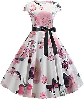Big Sale YetouWomens Vintage Dot Print Short Sleeve Midi Club Party Dress Bodycon O-Neck Evening Party Dresses