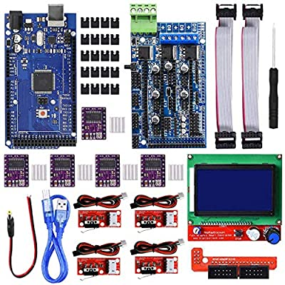 Youmile 3D Printer CNC Controller Kit With RAMPS 1.5, Board for Arduino, DRV8825 Stepper Motor Driver and Heatsink, Mechanical Endstop With Cable, LCD 12864 Display Module For Arduino