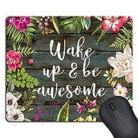 ゲーミングマウスパッドカスタム、目を覚まし、素晴らしいインスピレーションを引用します。マウスパッドヴィンテージ素朴な木の白い手描きの花フローラルアートを引用