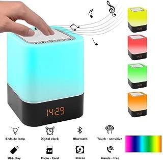 SZFREE LED-Multicolor-Nachttischlampe 6 in 1 Bluetooth-Lautsprecher//Wecker//FM-Radio//LED-Nachtlicht//Hifi-Musik//Touch-Steuerung//USB wiederaufladbar 7 Farben
