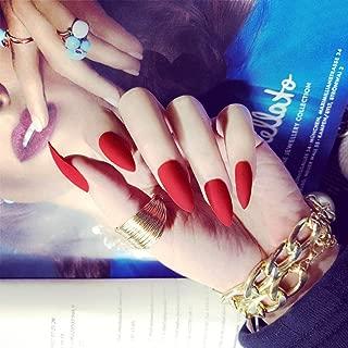 Milanco False Nails Full Cover Matte Fake Nails Shape Nails Sharp Art 24Pcs Stiletto Nail for Women (Red)