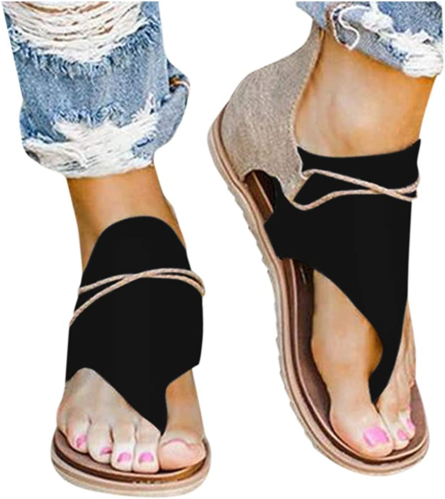 Sandals for Women Summer Solid Beach Roman Sandals Casual Breathable Gladiator Sandals Zip Up Clip-Toe Flat Shoes